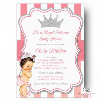 Royal Princess Baby Shower Invitations - Princess Baby Shower Invite - Princess Baby Shower Invitation PRINTABLE - Royal Baby Shower Glitter