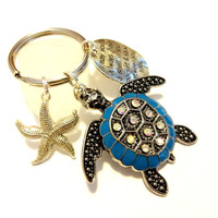 Sea Turtle Car Accessory, Sea Turtle Keychain, Starfish Key Fob, Shell In Pocket Stamped Charm Keychain