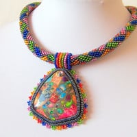 Beadwork Bead Embroidery Pendant Necklace with Rainbow Sea Jasper and Pyrite - SUMMER ECHO - Summer collection - Geometrics