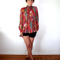 Avant Garde Red Multi Color Tess Blouse