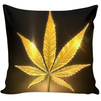 Golden weed leaf pillow