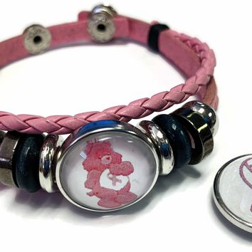 Care Bear Breast Cancer Awareness Ribbon Pink Leather Bracelet W/2 Snap Jewelry Charms New Item