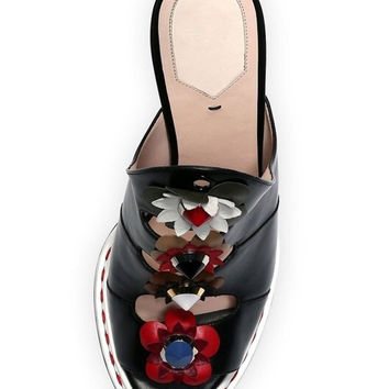 Black Contrast Jeweled Flower Designed Tie Up Heeled Sandals