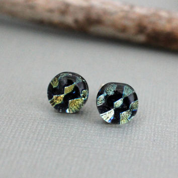 Sterling Silver Dichroic Glass Earrings - Handmade Stud Earrings - Black and Gold Stud Earrings - Unique Glass Earrings - Mom Birthday Gift