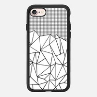 Abstract Grid Outline Black on White iPhone 7 Case by Project M | Casetify