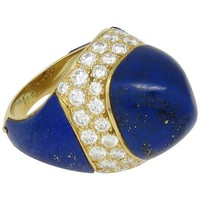 1970s Boucheron Lapis Lazuli Cabochon Diamond Gold Ring