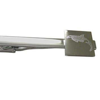 Silver Toned Etched Jumping Killer Whale Orca Square Tie Clip