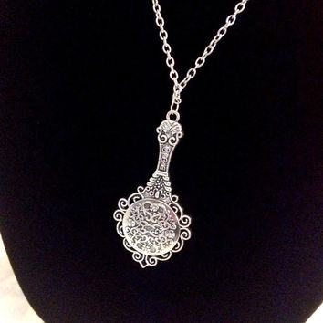Silver vintage style mini hand mirror necklace