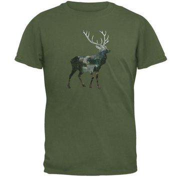 PEAPGQ9 Deer Forest Nature Hiking Hunting Mens T Shirt