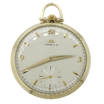 Vintage Movado Tiffany & Co Solid 14k Yellow Gold 44mm Pocket Watch 45.4g