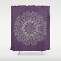 "Shower Curtain - 'Mandala on Dark Purple' - 71"" by 74"" Home, Bathroom, Bath, Dorm, Decor, Girl, Bohemian, Boho, Hippie, Purple, Mandala"