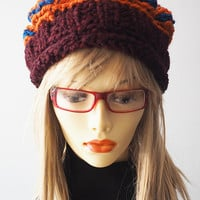 Chunky Knit Hat / Burgundy Knit Hat / Orange Crochet Hat / Multi Knit Crown / Maroon Knit Hat / OOAK Hat / Woman Winter Hat / Teen Girl Hat