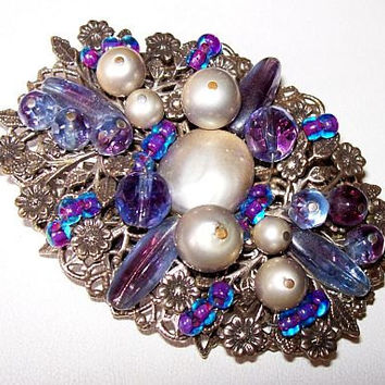 "Miriam Haskell Brooch Pin Purple Blue Crystal Beads & Faux Pearls Filigree Plates Vintage 3"" VG"