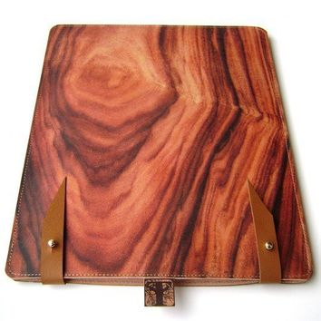 Leather iPad 1 & 2 case Wood design by tovicorrie on Etsy