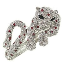 Stunnning Clear Red and Black Rhinestone Panther Hinged Clamper Bracelet: Jewelry: Amazon.com