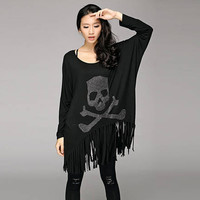 Spring Summer 2016 Women Batwing Long Sleeve Sequined Skull Print Black T Shirt Dresses With Tassel Plus Size Casual Dress