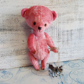 OOAK artist bear teddy bear, 9 inches, ready to ship, pink vintage plush