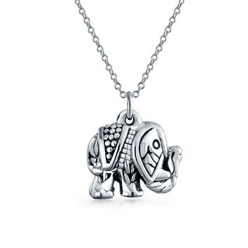 Indian Bali Style Elephant Pendant Necklace Black 925 Sterling Silver