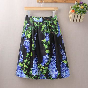 Elastic Waist Big Flower Print Loose Puff Midi Skirt