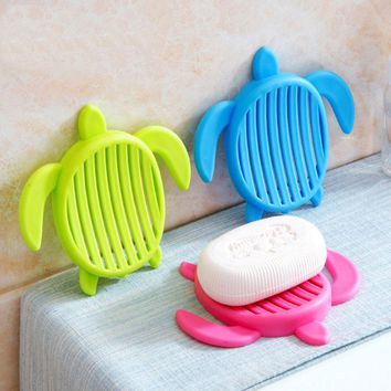 Free shipping 1pcs tortoise shape Plastic Home travel Soap Dishes soap holder soap box with Cover bathroom set Soap Dish