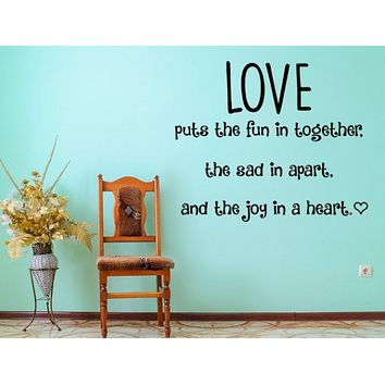 Love Wall Decal - Bedroom Decal - Love Vinyl Quote - Puts The Fun Vinyl Decal - Wall Decal - Love Sign - Love Vinyl Decal - Love Wall Art