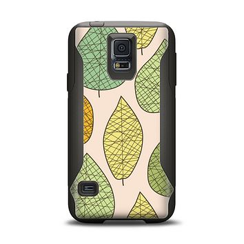 The Abstract Pastel Lined-Leaves Samsung Galaxy S5 Otterbox Commuter Case Skin Set
