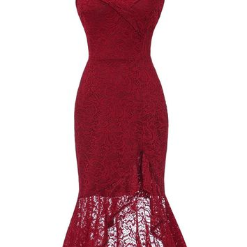50s Off Shoulder Lace Overlay Fishtail Dress
