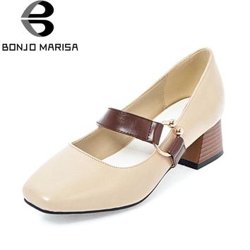 BONJOMARISA Women's Mary Jane Chunky Heel Shoes Woman Buckle Up Square Toe Less Platform Pumps Big Size 33-43