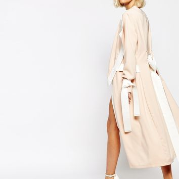 Lavish Alice Waterfall Belted Coat with Contrast Trim