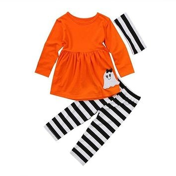 Toddler Kids Baby Girls Clothes Set Autumn Halloween Black Outfits Long Sleeve T-shirt Tops Leggings Pants Headband Girl 3PCS