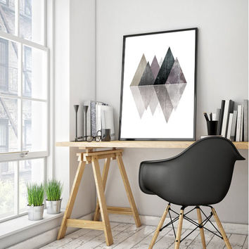 Triangle Scandinavian Print, Geometric Art, Printable Triangle Art, Minimalist Print, Best Selling Nordic Poster, Wall Art INSTANT DOWNLOAD