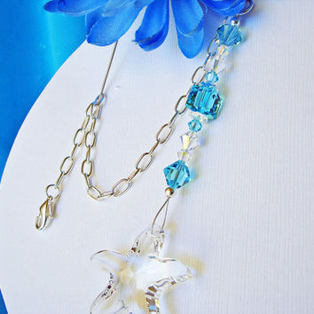 Crystal Suncatcher Rear View Mirror Charm Swarovski Lt. Turquoise and Starfish Car Accessory