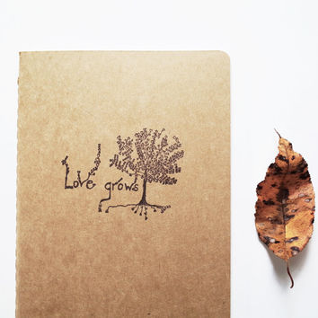 Love Grows notebook, large moleskine, nature diary hippie tree