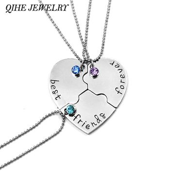 "QIHE JEWELRY 3 Pcs/set ""best friends forever"" Rhinestone Broken Heart Shape Bff Necklace Best friend Jewelry Friendship Gifts"