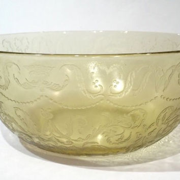 Federal Madrid Amber Glass Salad Bowl, Amber Depression Glass Bowl