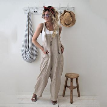 0380b2441f1f 2018 New Womens Casual Loose Linen Pants Cotton Jumpsuit Strap Harem  Trousers Overalls Overalls Loose Harem