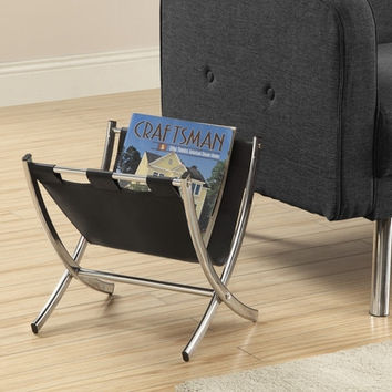 Black Leather-Look / Chrome Metal Magazine Rack