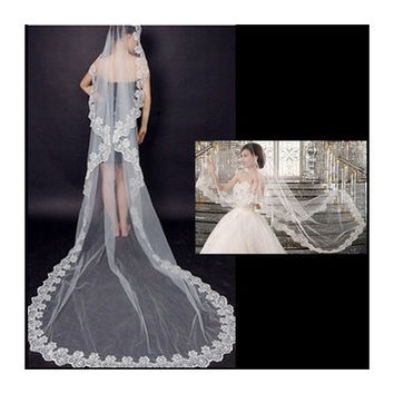 3M Long Lace Edge Cathedral Wedding Gown Bride Veil Bridal Veil White/Beige Tulle Veil [7981690247]