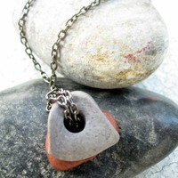 Mens Necklace Stone Pendant Necklace For Him Unisex by pearlatplay