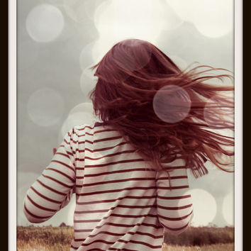 Hair Photography Bokeh Long Red Hair Grey Modern Home Decor Portrait 10x8 Print Carefree..