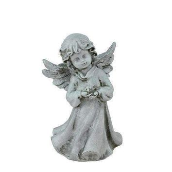 "6.5"" Heavenly Gardens Distressed Gray Cherub Angel Girl with Flower Outdoor Patio Garden Statue"