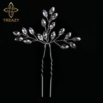 TREAZY Bridal Wedding Crystal Leaf Flower Hair Pin Silver Color Hair Clip Handmade Hairpin Bridesmaid Bride Hair Accessories