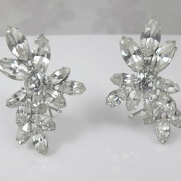 Rhinestone Wingback Earrings, Judith McCann Patent, Vintage Wedding Bridal Earrings, Clear Rhinestone Ear Climbers, 1940s Jewelry