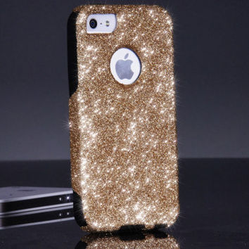 iPhone 5 5S Otterbox Case Custom Gold/Black Glitter iPhone 5 5S Otterbox Commuter Series Cover