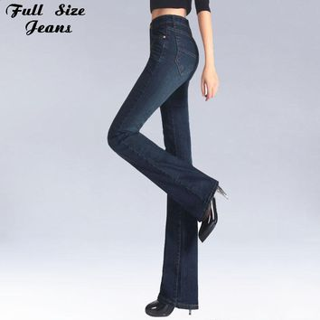 Spring Slim Fit Plus Size Flare Jeans High Waist Stretch Skinny Jean Vintage Bell-Bottom Pants Denim Trousers Xxl 4Xl 5Xl Xs 6Xl