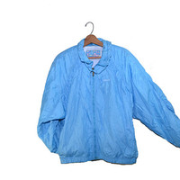 Vintage Bomber Jacket Blue Bomber Jacket Head Bomber Jacket 80s Windbreaker Jacket 80s Bomber Jacket