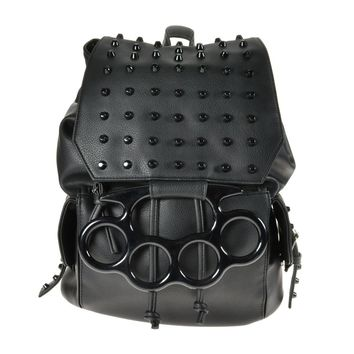 Vixxsin Goth Punk Rock Large Brass Knuckles Handles Black Backpack