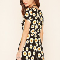 Sunflower Print A-Line Dress