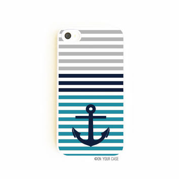 iPhone 4 Case  Nautical Stripe With Anchor Teal by onyourcasestore