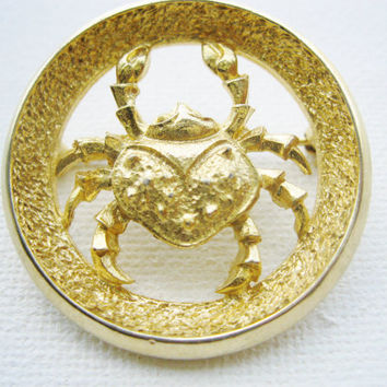 Park Lane Cancer The Crab Zodiac Brooch Designer Signed 1960s Zodiac Similar To Trifari Zodiac Collection June July Birthday Astrology